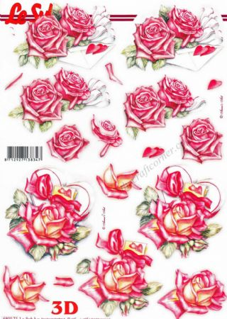 Pink Roses With Love Letters Die Cut 3d Decoupage Sheet From Le Suh